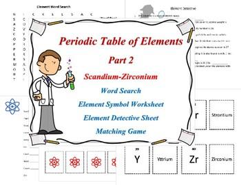 Periodic Table of Elements Part 2 Scandium-Zirconium. Worksheets, Matching Game