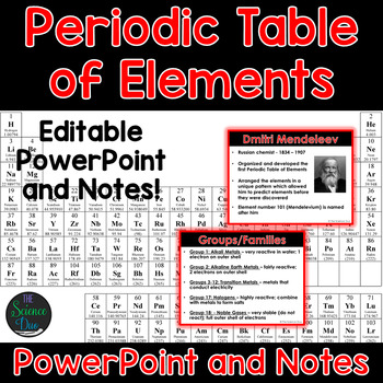 Periodic Table of Elements - PowerPoint and Notes