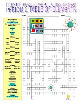 Periodic Table of Elements Puzzle Page (Wordsearch and Criss-Cross)