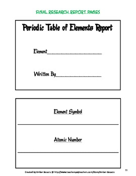 Periodic table of elements research report for ela and science ccss urtaz Images