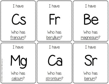 Periodic Table of Elements Card Game