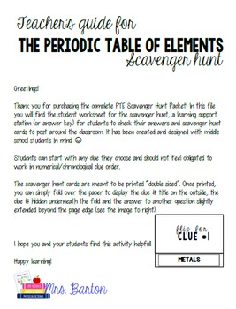 Periodic Table of Elements Scavenger Hunt Packet