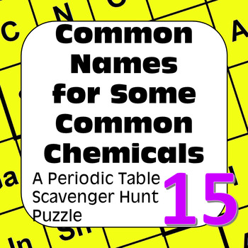 Periodic Table Scavenger Hunt Puzzle: Common Names for Some Common Chemicals