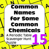 Periodic Table Scavenger Hunt Puzzle Common Names for Some Common Chemicals