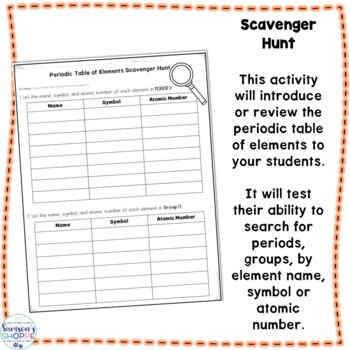 Periodic Table of Elements Scavenger Hunt Activity