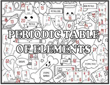 Periodic Table of Elements Seek and Find Science Doodle Page
