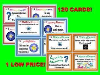 Periodic Table of Elements Task Cards (BUNDLE Sets 1-3) - 120 cards!