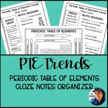 Periodic Table of Elements Trends: Cloze Notes