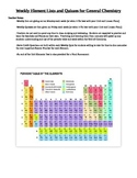 Periodic Table of Elements Weekly Lists and Quizzes
