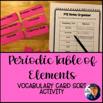 Periodic Table of Elements Vocabulary Card Sort