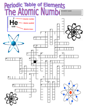 Periodic Table of Elements (Vocabulary Webquest / Atomic Number Crossword)