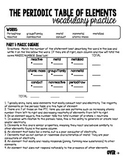 Periodic Table of Elements Vocabulary Worksheet w/ Answer Key