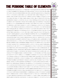 Periodic Table of Elements Word Search