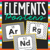 Periodic Table of Elements Word Wall Terms or Flash Cards, Chemistry Posters