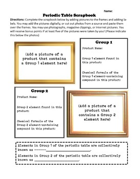 Periodic Table of the Elements Scrapbook Project