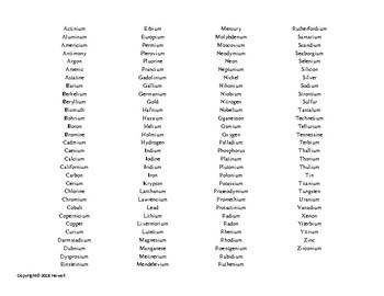 Periodic Table of the Elements Word Search