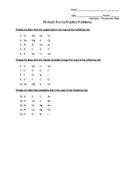 Periodic Trends Practice