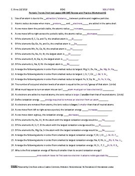 Periodic Trends Practice Worksheet