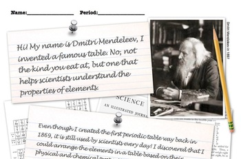 Periodic table Dmitri Mendeleev powerpoint, notes, worksheet, 6th 7th 8th 9th