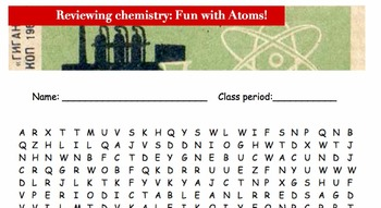 Periodic table atoms word search review FUN ACTIVITY! 4th 5th 6th 7th 8th