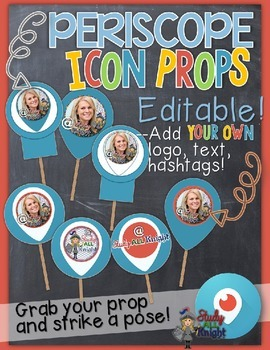 PERISCOPE BROADCAST ICON PROPS {EDITABLE}