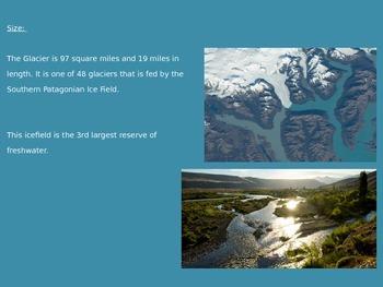 Perito Moreno Glacier - Power Point History Facts Pictures 6 Slides