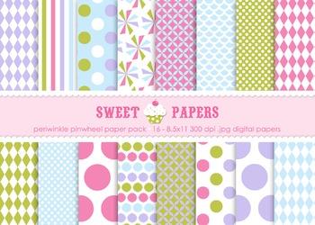 Periwinkle Pinwheel Digital Paper Pack - by Sweet Papers
