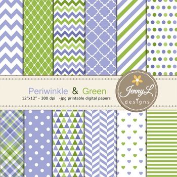 Periwinkle and Green digital paper