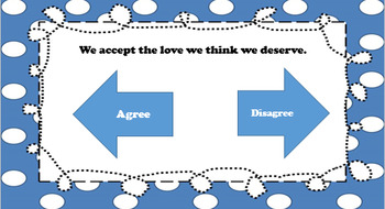 Perks of Being a Wallflower - Taking a Stand/Agree Disagree Activity