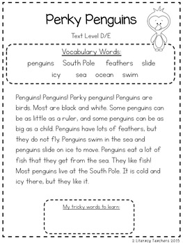Perky Penguins: CCSS Aligned Leveled Reading Passages and Activities