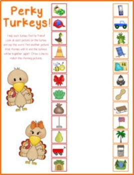 Perky Turkeys! {rhyming words literacy center}