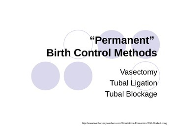 Permanent Birth Control Methods PowerPoint Presentation
