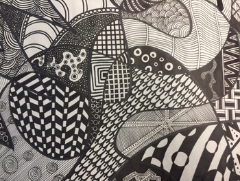 Middle or High School Art Project: Permanent Marker Shape and Line Drawing