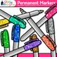 Permanent Marker Clip Art {Rainbow Glitter Back to School Supplies}