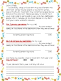 Permission Form for Candy or Food