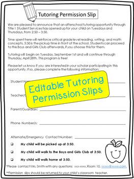 Tutoring Permission Slip