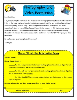 Permission Slip for Taking Photos and Videos of Students