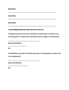 Permission To Use Student Work Portfolio