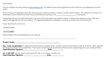 Permission letter and form for Art