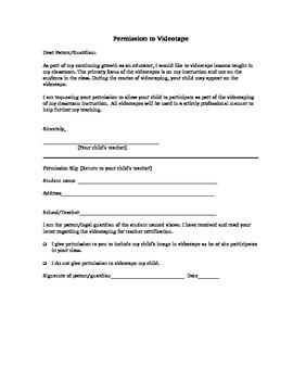 Permission to Videotape/Film Students