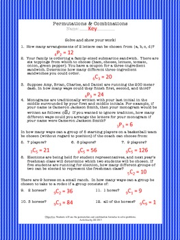 math worksheet : permutations  combinations worksheet by activities by jill  tpt : Combinations Worksheet