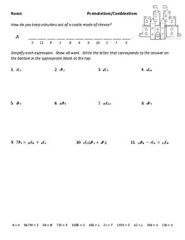 Permutations and Combinations Joke Worksheet