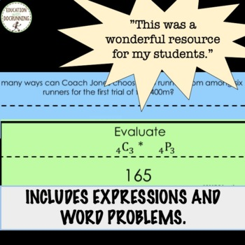 Permutations and Combinations Paper Chain Activity