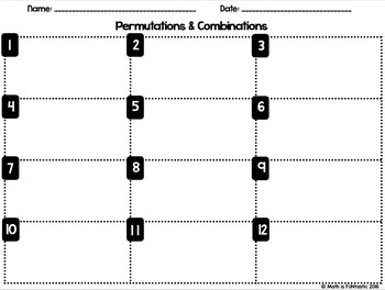 Permutations and Combinations - Task Cards