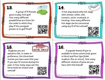 Algebra Permutations and Combinations Task Cards plus QR