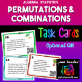Permutations and Combinations Task Cards plus QR
