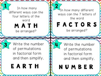 Combinations, Permutations, Arrangement Numbers, & Ordered List Task Cards