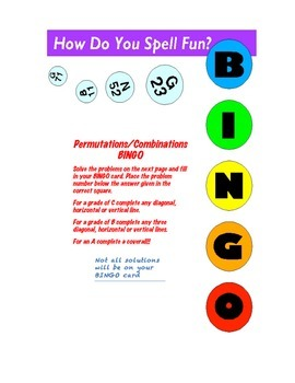 Permutations/Combinations BINGO