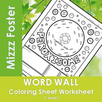 Peroxisome Word Wall Coloring Sheet