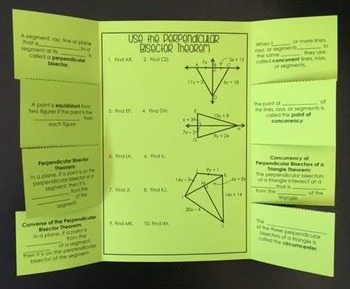 Perpendicular Bisectors (Geometry Foldable)